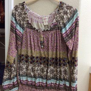Long-sleeved Elastic Waist Shirt